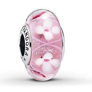 New PANDORA Charm Pink Field of Flowers 925 Silver